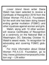 Diane Walsh, National Mall, Washington DC, Oct 15_2016, Certificate of Recognition, Reporting on FGM